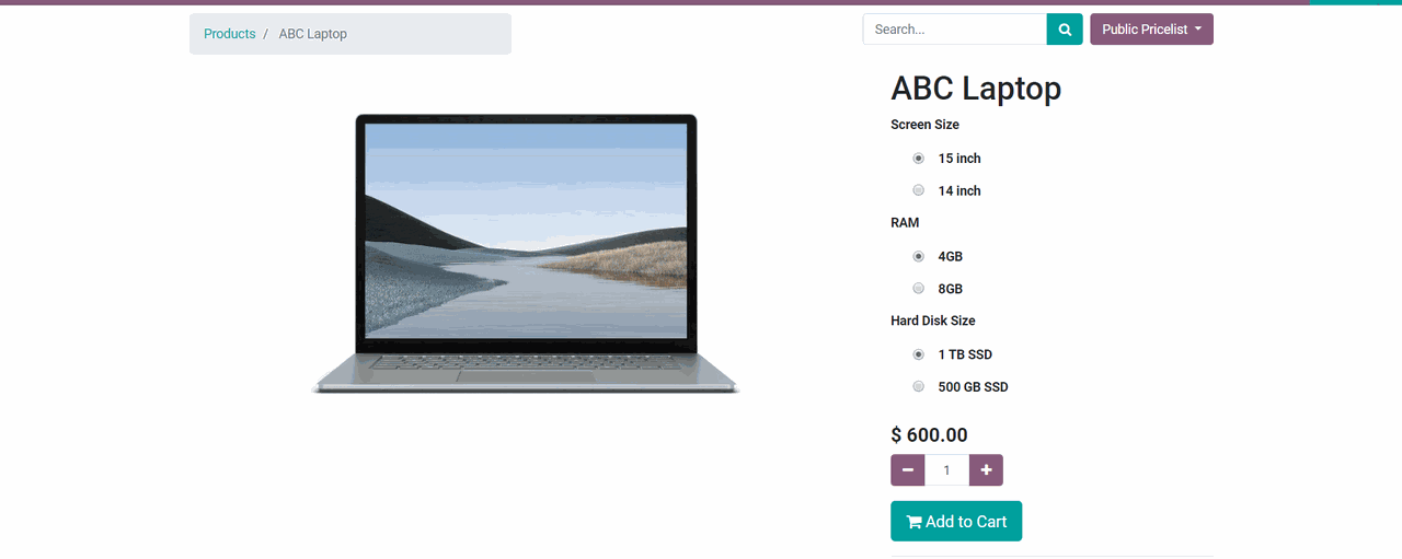 create products in Odoo eCommerce